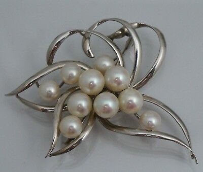 18K Cultured Pearl Spray Brooch Pin Manning 7 mm 6 mm 7mm 6mm Vintage White Gold