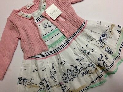 Baby Girl BNWT 2 Piece Outfit Set Cardigan And Printed Dress NEXT Age 3-6 Months
