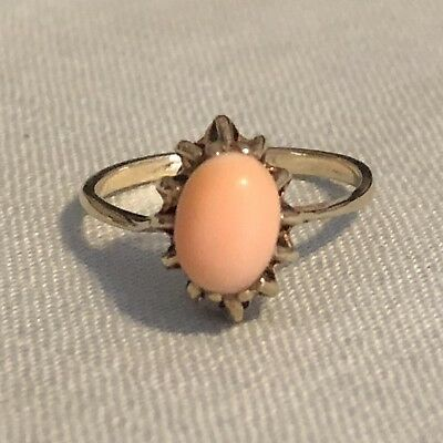 Antique Vintage 10K Yellow Gold Pink Angel Skin Coral Ring Size 6
