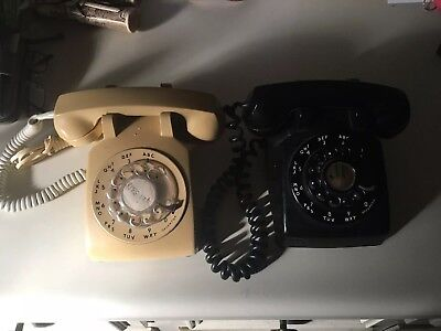 Vintage Black Western Electric Rotary Dial Phone & ITT Yellow Phone