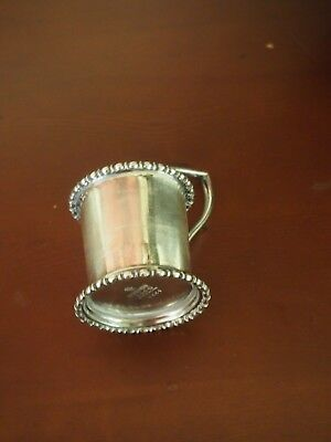 Antique silver plate christening cup