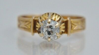 14K Victorian .68ct Old Mine Cut Diamond Engagement Ring Antique Vintage Cushion