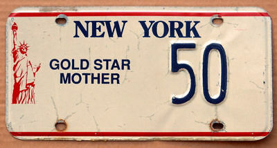 1990s New York Gold Star Mother license plate 50 / killed in action / military