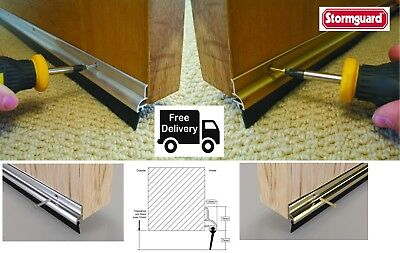 STORMGUARD BOTTOM DOOR RUBBER SEAL Draught Excluder GOLD SILVER FREE POST