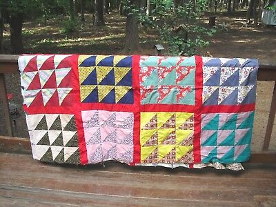 BRIGHTLY COLORED HAND PIECED QUILT TOP~Needs to be finished into a Quilt