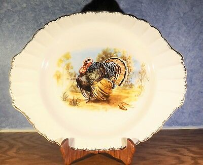 Vintage Limoges USA Turkey Autumn Thanksgiving Serving Platter Gold Trim