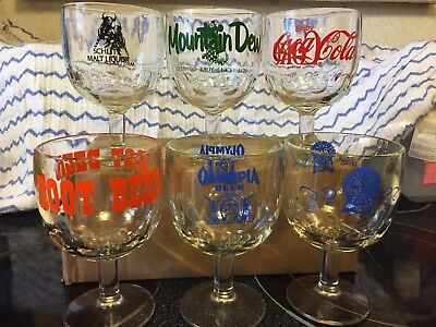 Set of 6 Vintage Glass Thumbprint Goblets Mountain Dew, Pabst, Coca Cola, + More