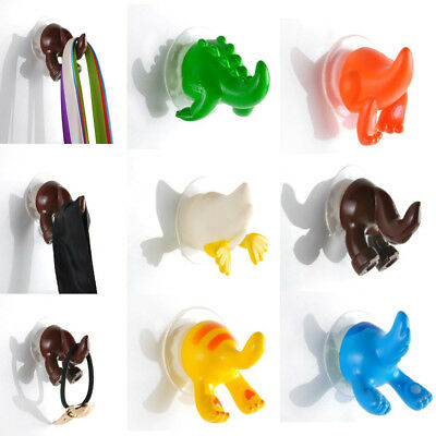 6X Animal Tails Hanger Kitchen Bathroom Shower Cloth Towel Suction Cup Hooks