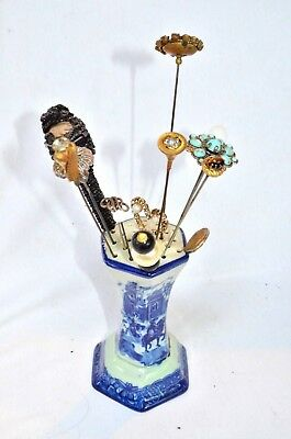 Antique Hatpin Lot With Flow Blue Ironstone Holder Mid Century Modern Art Deco