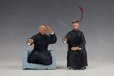 A Pair of Chinese Clay Zhang Pottery Figures Both Sitting on Chairs