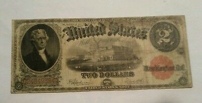 1917 Two Dollar United States Bill Paper Money $2 Dollar Bill Large Note