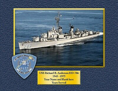 USS RICHARD B ANDERSON DD 786 Custom Personalized Print of US Navy Gift Idea