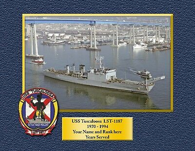 USS TUSCALOOSA LST1187 Custom Personalized Print of US Navy Gift Idea