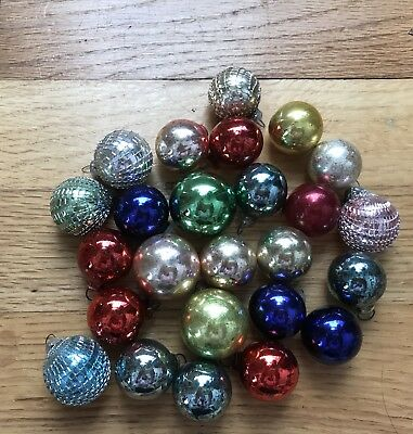 Lot Vintage Mercury Glass Mini Ball Christmas Feather Tree Ornaments