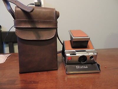 Vintage Polaroid SX-70 Land Camera Brown Leather Very Good Condition!!