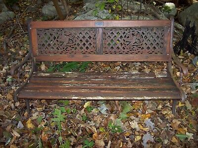 Vntage Hummingbird Leisure Ways Cast Iron Wood Wooden Patio Garden Outdoor Bench