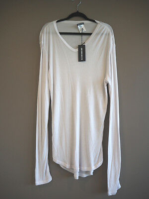 """ANN DEMEULEMEESTER long sleeve cashmere """"Aura Ice"""" top size L NEW tags US$445"""