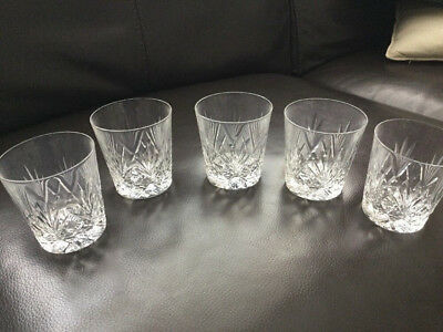Glass Crystal Whisky Glasses X 5 Good Condition