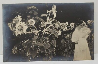 RPPC Lady With Baby Posing with Large Sunflowers Undivided Back Postcard B14
