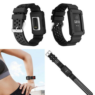 New Replacement Watchband Wrist Band Strap & Frame Silicone For Fitbit Charge 3