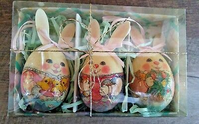 Anthropomorphic Easter Bunny Eggs Ornaments Decoupage Set of 3 1995 Vintage