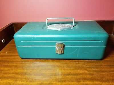 "Vintage 1950s VICTOR metal tackle box , green, 2 tier, 5"" tall x 13 inches long"