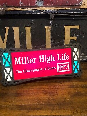 VINTAGE MILLER HIGH LIFE BEER THE CHAMPAGNE OF BEERS LIGHTED BAR STORE SIGN Old