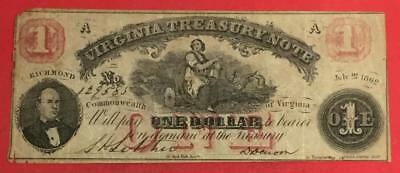 """1862 $1 RED Virginia """"US TREASURY NOTE"""" LARGE SIZE Currency Rough!"""