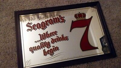 Seagram's 7 where quality drinks begin vintage large bar mirror 14 1/2 x 21 1/2