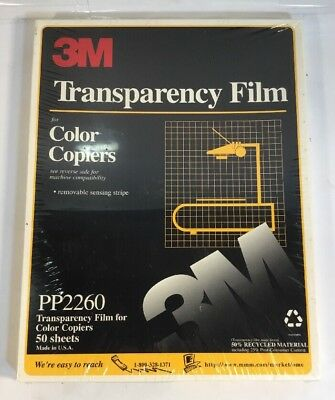 3M Transparency Film F/ COLOR Copiers PP2260 50 Sheets New, Still Sealed