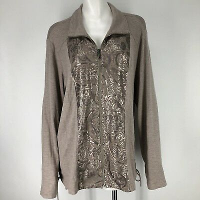 b46819ab58bd4 Chicos Zenergy Womens 3 XL Jacket Coat Retreat Taupe Sequins Bling Full Zip