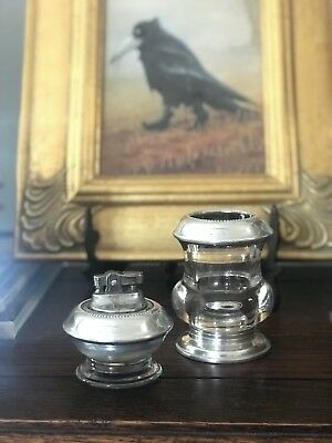 1930's ANTIQUE FRANK WHITING (STERLING SILVER AND GLASS) CIGARETTE LIGHTER SET