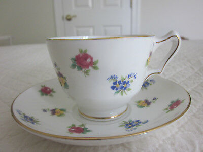 Lovely Vintage Crown Staffordshire Bone China Tea Cup and Saucer Multi Floral
