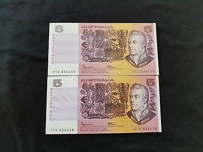R209a JOHNSTON FRASER 2 CONSECUTIVE $5.00 OCRB UNCIRCULATED