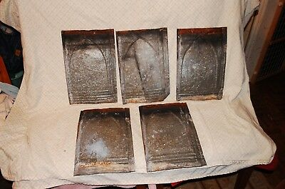 5 Vintage Tin Shingles 9 1/4 X 14 antique over 100 years old