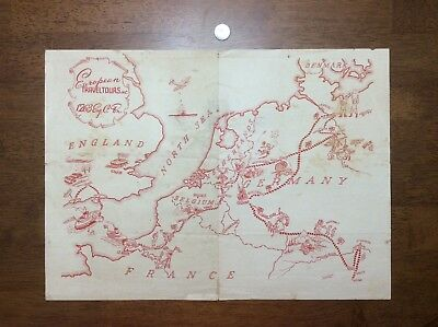 WWII Army 1263rd Engineer Combat Battalion Map European Travel Tours ETO