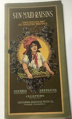 Antique SUN MAID RAISINS Gorgeous Cover RECIPES 30 Pg COOKBOOK Seeded SEEDLESS