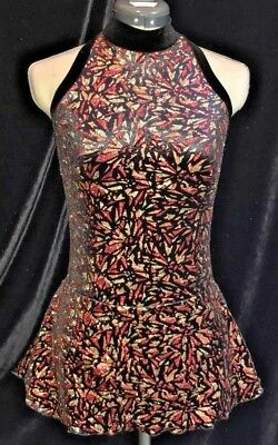 GOLD RED BLACK Ice Figure Skating Competition Dress Girls LARGE 12 / 14