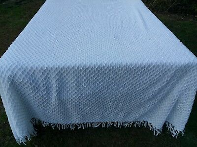 Vtg Chenille White Bedspread 74X100 Squiggles Light Weight