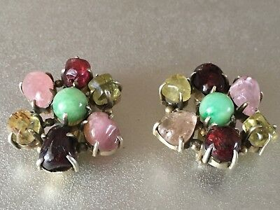 A Pair Of Chinese Sterling Silver Earrings Jade Pink Topaz Tourmaline Inlaid