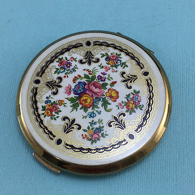 Vintage Floral Stratton Powder Mirror Compact Made in England