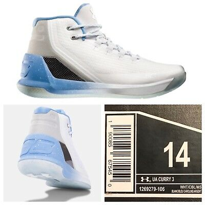 96db1eee0d00 NEW Under Armour Steph Curry 3 White Blue Easter UA 1269279-106 Men s Size  14