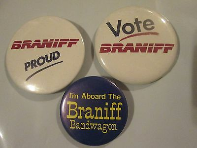 Braniff Airlines...three Vintage Buttons...