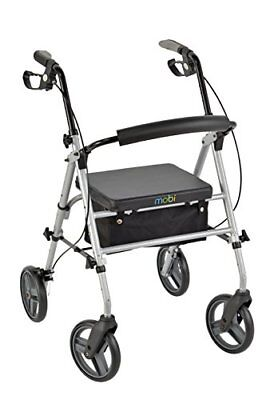 """Juvo Folding Deluxe Rollator with 8"""" Wheels and Height Adjustable Handles and Se"""