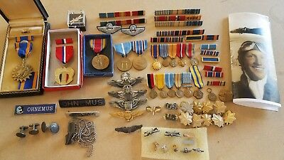 WWII and Korea War Pilot ~ Medals ~ Wings ~ Dog Tags ~ USAF Named Grouping