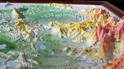 3D Relief Map Deep Picture Frame Any Size Bespoke Custom Made Frame, Model Map