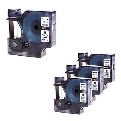 """4 PK 45013 Black on White Label Tape For DYMO D1 Labelmanager S0720530 12mm 1/2"""""""