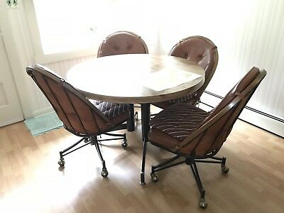 Vintage 1970s Round Dining Table With Four Chairs