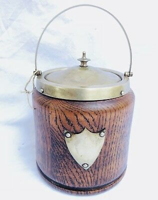 Antique English Oak Biscuit Barrel Jar Porcelain Silverplate Lid late~19th Cent.