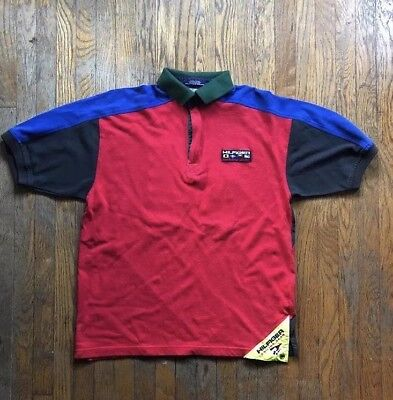 990677412 VTG 90S TOMMY Hilfiger Sailing Gear Spell Out Striped Polo Shirt ...